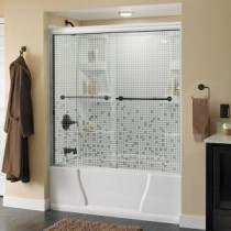 Lyndall 59-3/8 in. x 56-1/2 in. Sliding Tub Door in White with Bronze Hardware and Semi-Framed Mosaic Glass