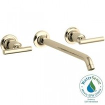 Purist Wall-Mount 2-Handle Bathroom Faucet Trim Kit in Vibrant French Gold (Valve Not Included)