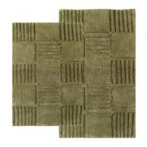 21 in. x 34 in. and 24 in. x 40 in. 2-Piece Checkerboard Bath Rug Set in Peridot