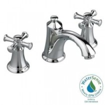 8 in. Widespread 2-Handle Mid-Arc Bathroom Faucet in Polished Chrome with Speed Connect Drain and Cross Handles