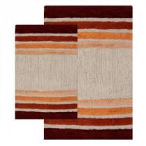 20 in. x 32 in. and 23 in. x 39 in. 2-Piece Tuxedo Stripe Bath Rug Set in Brick