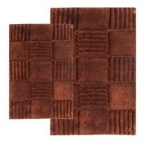 21 in. x 34 in. and 24 in. x 40 in. 2-Piece Checkerboard Bath Rug Set in Chocolate