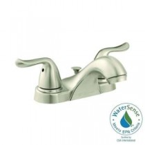 Constructor 4 in. Centerset 2-Handle Low-Arc Bathroom Faucet in Brushed Nickel