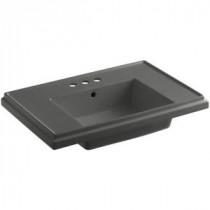 Tresham 7.3125 in. Pedestal Sink Basin in Thunder Grey