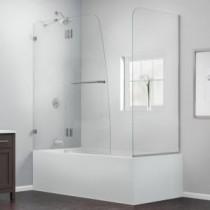 AquaLux 56 to 60 in. x 58 in. Semi-Framed Hinged Tub Door in Brushed Nickel