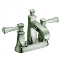 4 in. Minispread 2-Handle Deck-Mount Bathroom Faucet in Brushed Nickel with Pop-Up Drain