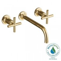 Purist Wall-Mount 2-Handle Bathroom Faucet Trim Kit in Vibrant Modern Polished Gold