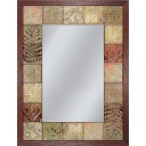 25.5 in. x 34.5 in. Leaf Tile Mirror in Brown