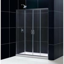 Visions 60 in. x 74-3/4 in. Frameless Sliding Shower Door in Chrome with Left Hand Drain Base