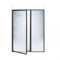 Legend Series 46 in. x 69 in. Framed Hinged Swing Shower Door with Inline Panel in Oil Rubbed Bronze with Obscure Glass