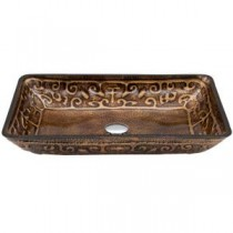 Rectangular Glass Vessel Sink in Golden Greek