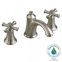 Portsmouth 8 in. 2-Handle Mid Arc Bathroom Faucet in Satin Nickel with Speed Connect Drain and Cross Handles