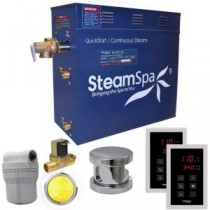 Royal 7.5kW QuickStart Steam Bath Generator Package with Built-In Auto Drain in Polished Chrome