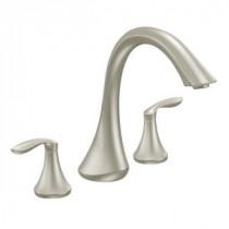 Eva 2-Handle Deck-Mount Roman Tub Faucet Trim Kit in Brushed Nickel (Valve Sold Separately)