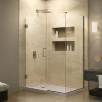 Unidoor Plus 32-1/2 in. x 30-3/8 in. x 72 in. Semi-Framed Hinged Shower Enclosure in Brushed Nickel