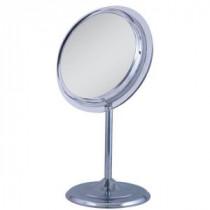 9.5 in. W x 16 in. H Surround Light Adjustable Pedestal Vanity Mirror in Chrome